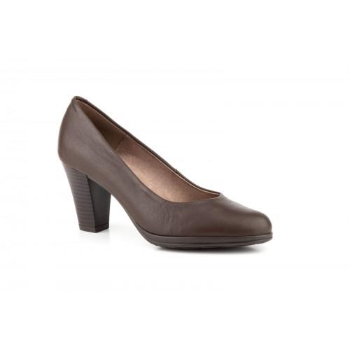 Zapato Salón Mujer Piel Marrón Planta de Gel