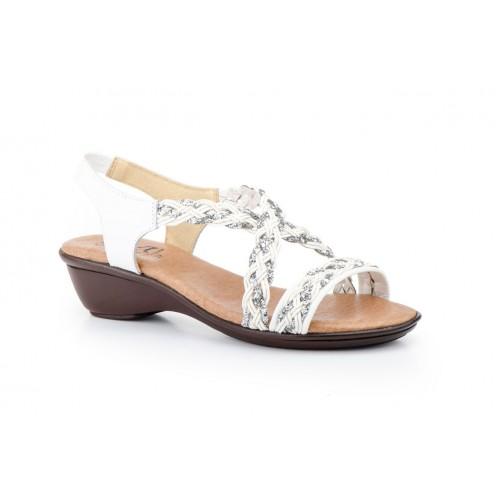 Woman White Glitter Leather Sandal