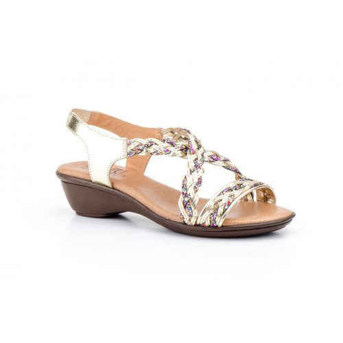 Woman Leather Glitter Gold Sandal