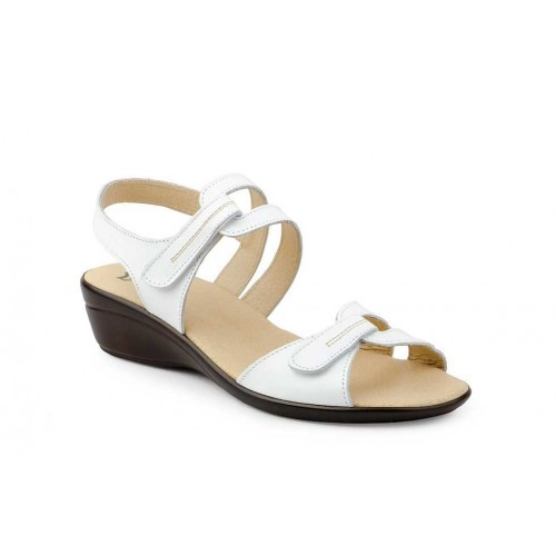Woman White Leather Velcro Sandal