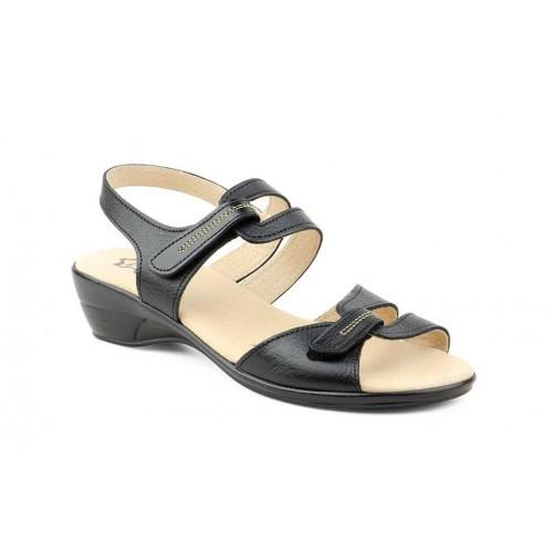 Sandalia Mujer Piel Negro Velcro