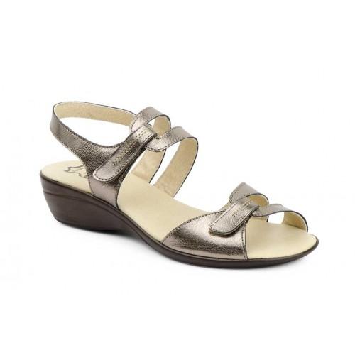 Sandalia Mujer Piel Bronce Velcro