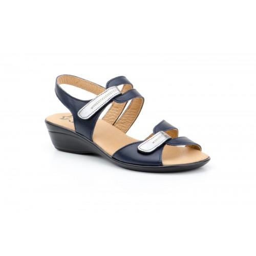 Women's Leather Sandal Blue Velcro Lead