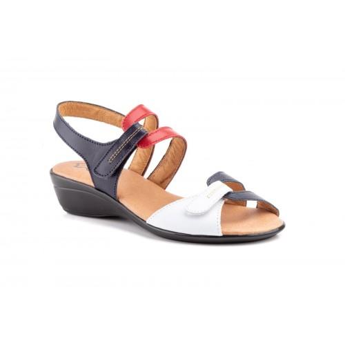 Sandalia Mujer Piel Tricolor Velcro