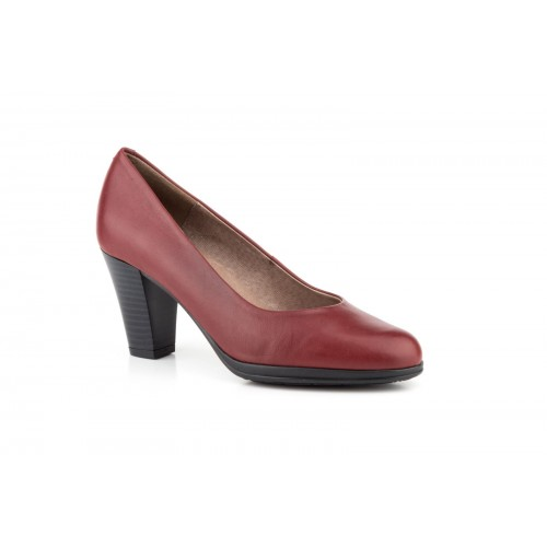 Zapato Salón Mujer Piel Burdeos Planta de Gel