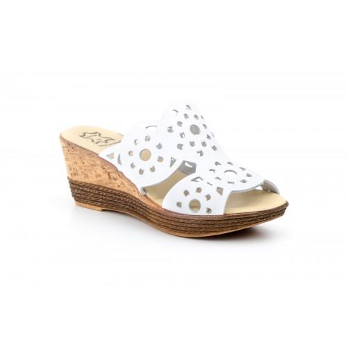 Women's Wedge Sandal White Die-cut Leather