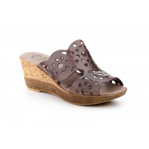 Women's Wedge Sandal Brown Die-cut Leather