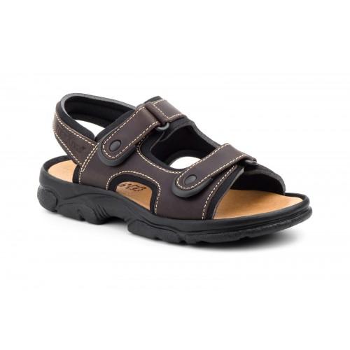 Sandal Outdoor California Man Brown Leather Velcro