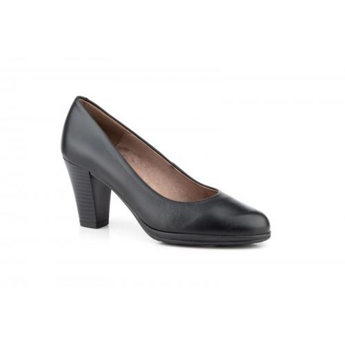Zapato Salón Mujer Piel Negro Planta de Gel
