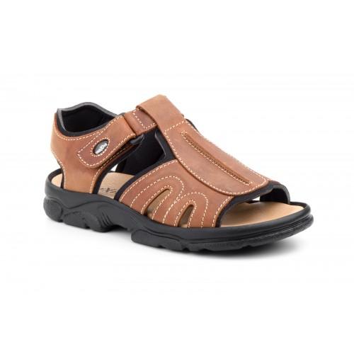 Sandalia Outdoor California Hombre Piel Cuero Velcro