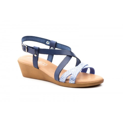 Wedge Sandal Woman Navy Leather Silver