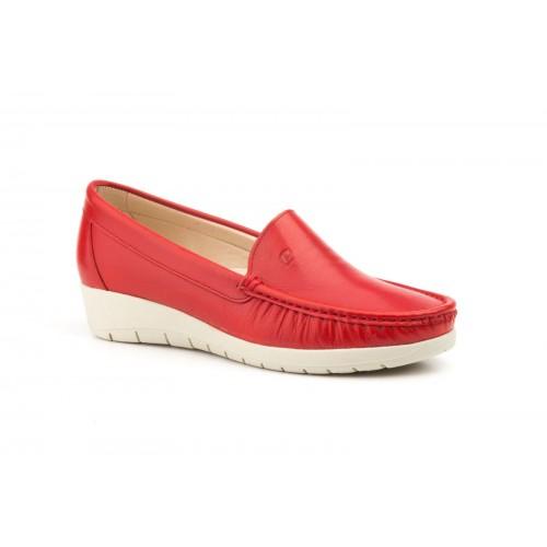 Zapato Mocasín Mujer Cuña Piel Rojo