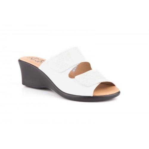 Sandalia Mujer Cuña Piel Blanco Velcro