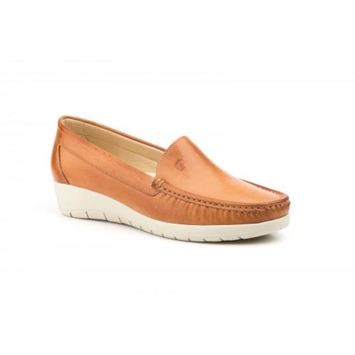 Zapato Mocasín Mujer Cuña Piel Cuero