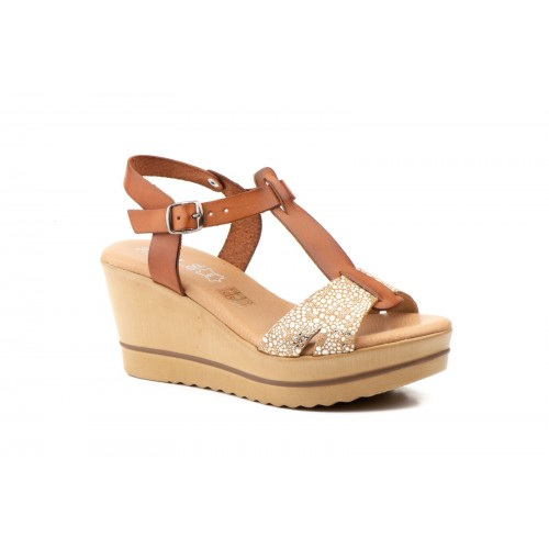 Woman Leather Wedge Sandal