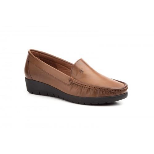 Zapato Mocasín Mujer Cuña Piel Marrón