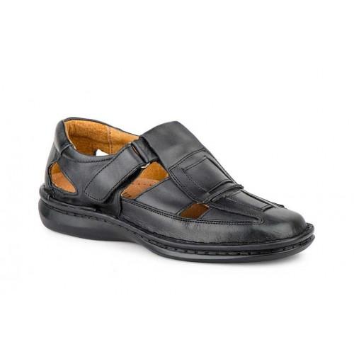 Black Leather Men's Sandal Stitched Sole