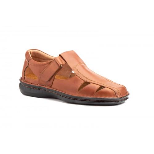 Men's Sandal Cognac Leather Sewn Sole
