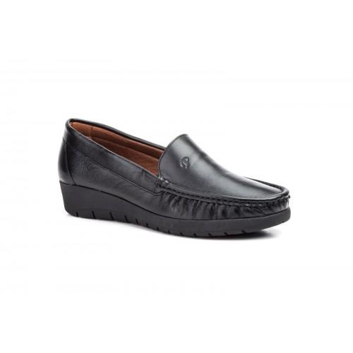 Zapato Mocasín Mujer Cuña Piel Negro